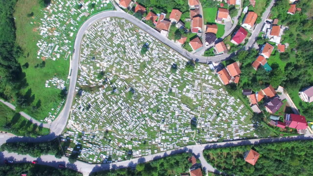 Aerial view of Bosnian graveyard video