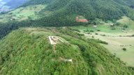 Aerial view of Bosnian pyramids with Visoko village in the valley video