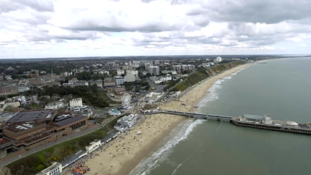 Aerial View of Bournemouth Cityscape feat. Beach and Pier 4K video