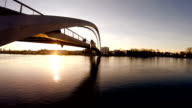 aerial view of bridge at sunset. modern futuristic architecture video