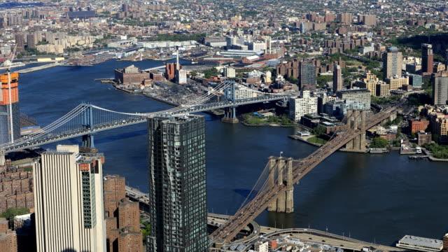 Aerial view of Brooklyn and Manhattan Bridges video