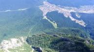 Aerial view of Bucegi city from Caraiman Peak, Romania video