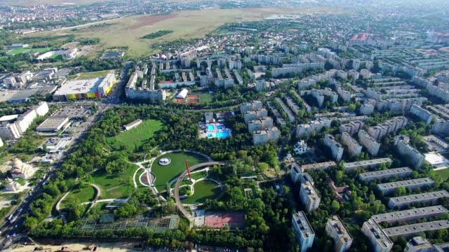 Aerial view of Bucharest city, Moghioros park, Romania video