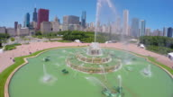 Aerial view of Buckingham fountain in Chicago video