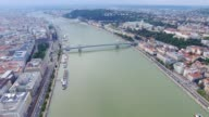 Aerial view of Budapest across Danube River video