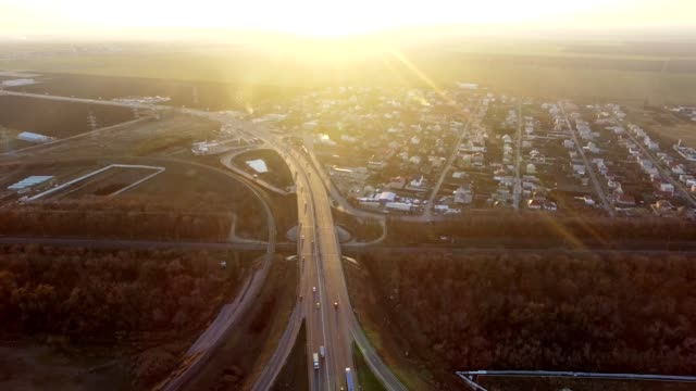 Aerial View of busy Highway video