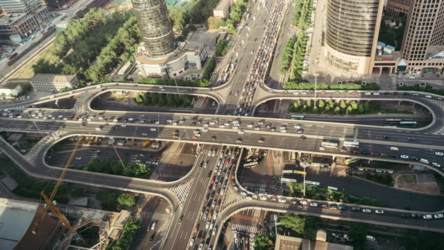 T/L WS HA Aerial View of Busy Overpass / Beijing, China video