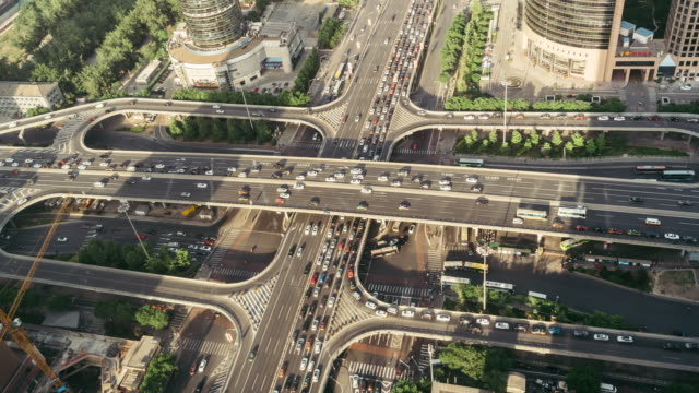T/L WS HA ZO Aerial View of Busy Overpass / Beijing, China video