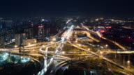 T/L WS HA PAN Aerial View of Busy Overpass in Beijing at Night video
