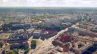 Aerial view of busy street intersection in Berlin. Cars stop video