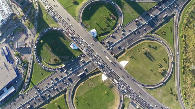 Aerial view of busy transport intersection video