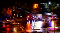 Aerial view of car accident scene at night video