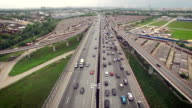 Aerial view of car traffic on highway video