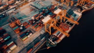 Aerial view of cargo container and crane at Harbor video