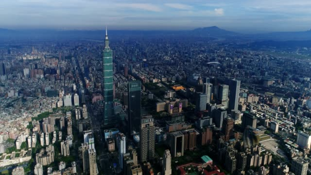 Aerial view of center of City Taipei, Taiwan video