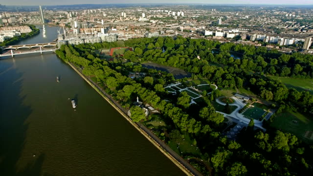 Aerial view of Central London featuring the River Thames and Battersea Park video