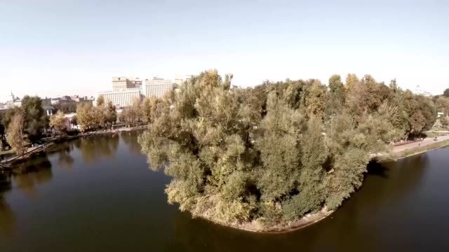 Aerial view of Central Moscow Gorky park. Crowds of people walking over central park in Moscow, Russia. Moscow river bank, park full of green trees on a sunny spring day. video