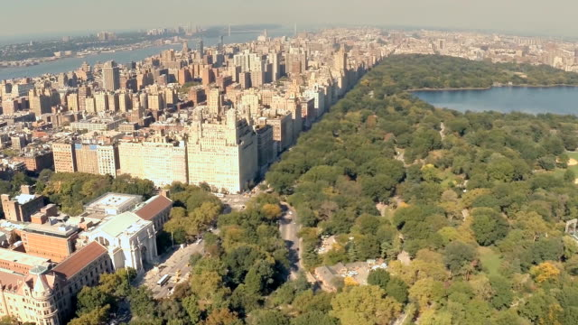 Aerial view of Central Park west buildings in NYC video