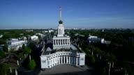 aerial view of Central Pavilion and Central Avenue at the Exhibition of Achievements of the People's Economy in Moscow video