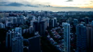 Aerial View of Central Region of Singapore in Dusk Hour video