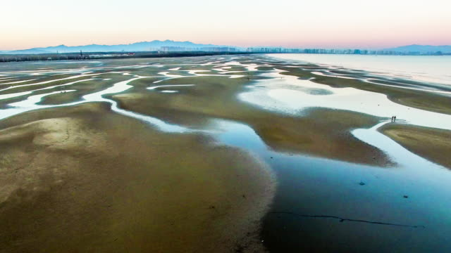 Aerial view of charming beach and shoal in Beidaihe scenic spot, Hebei, China video
