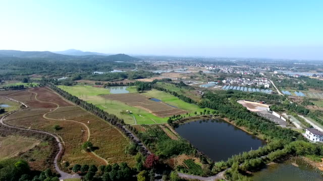Aerial view of china countryside with mountain,beautiful rual,china video