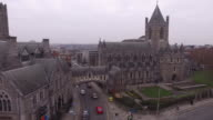 Aerial View of Christ's Church, Dublin, Ireland - Zoom out video