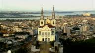 Aerial view of church and city, Rio de Janeiro, Brazil video