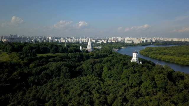 Aerial view of Church of the Ascension, Kolomenskoye park and Moscow river video