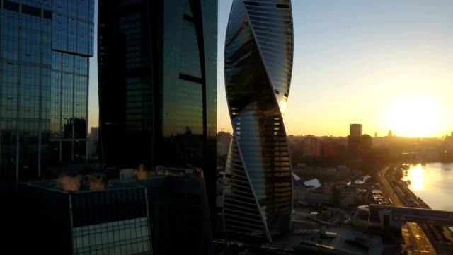 Aerial view of city and office business buildings video