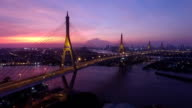 Aerial view of City Bridge at night in Bangkok, Thailand video