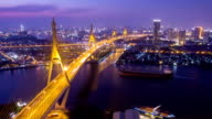 Aerial view of City Bridge time lapse at night in Bangkok, Thailand video