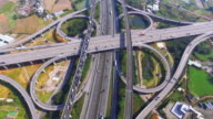 Aerial view of city highway interchange with bridge road video