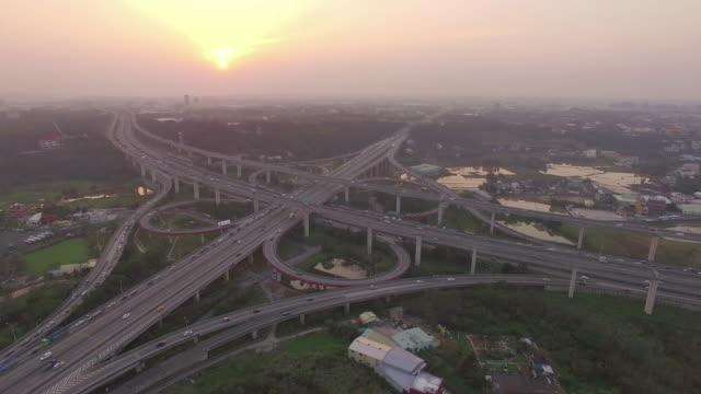 Aerial view of city highway interchange with bridge road video