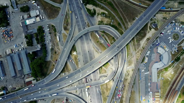 Aerial view of City highways.   traffic video