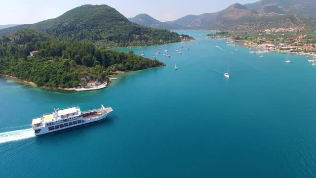 Aerial view of city Nidri at Lefkada island video