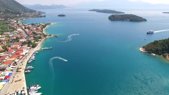 Aerial view of city Nidri at Lefkada island video