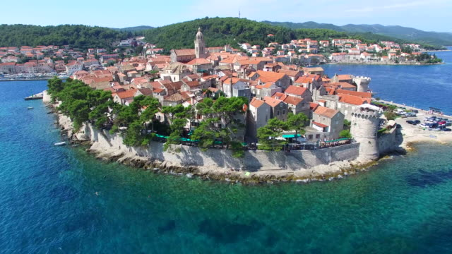 Aerial view of city of Korcula, Croatia video