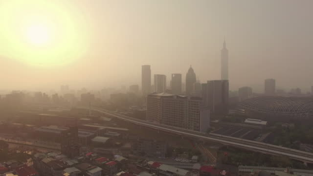 Aerial view of  city of Taipei at dawn, Taiwan video