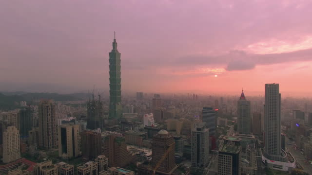 Aerial view of city Taipei at sunset, Taiwan video