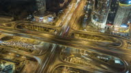 T/L HA ZO Aerial View of City Traffic and Busy Overpass at Night / Beijing, China video