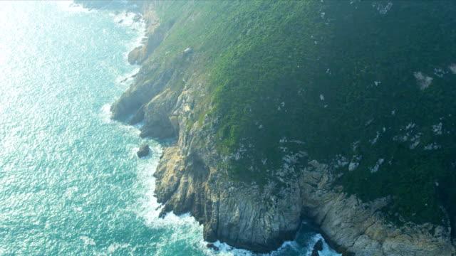 Aerial View of coastline sea cliffs Hong Kong video