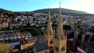 aerial view of Collegiale Church in Neuchatel, Switzerland video