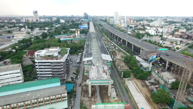 Aerial view of Construction of a mass rail transit line in Bangkok ,Thailand video