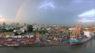 Aerial view of container ship anchored in the Port of Thailand video