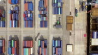 Aerial view of Container ship in industrial port video