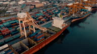 Aerial view of Container Terminal video