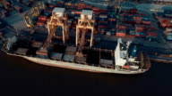aerial view of Containers loading on Ship video