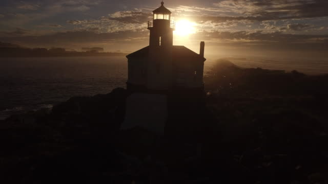 Aerial view of Coquille River Lighthouse video