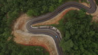 Aerial view of curve road on the mountain video